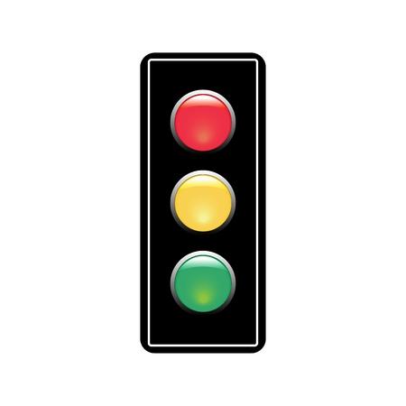Segnale di semaforo. Semaforo icona su sfondo bianco. Il simbolo regola la sicurezza e l'avvertimento del movimento. Il semaforo dell'elettricità regola il trasporto sulla strada urbana dell'incrocio. Illustrazione vettoriale piatto. Vettoriali
