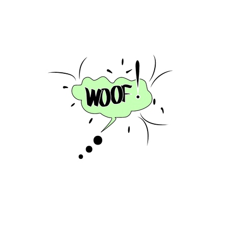 Woof. Comic sound speech effect bubble isolated on white background illustration. Bang inscriptions. Humorous for cloud speech. Vector illustration.