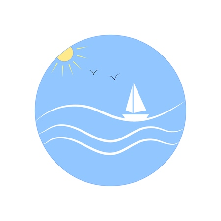 Illustration sea and yacht in blue circle on white background. Logo marine season,sunny seafront, modern vacation. Design element. Vector illustration Vettoriali