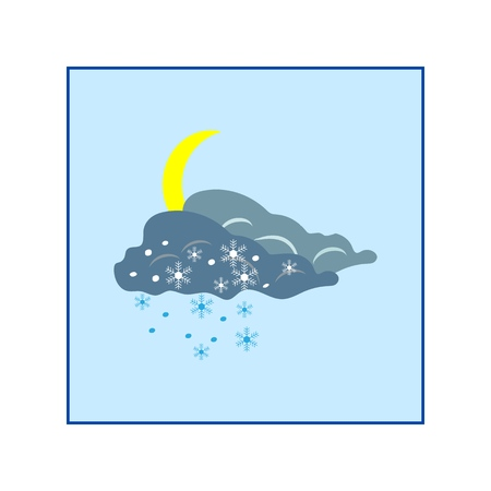 Weather winter icon. Moon and cloud. Meteorology symbol thunderstormy. Isolated icon bad weather. Design element. Colorful symbol of gale. Template for weather forecast, card. Vector illustration