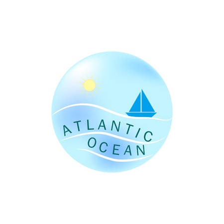Lettering Atlantic Ocean on llustration sea and yacht in blue circle on white background. Logo marine season, sunny seafront, modern vacation. Design element. Vector illustration
