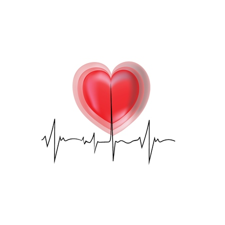 Electrocardiogram and heart sign. Graphic background design. Modern stylish abstract card for hospital. Symbol love, life, medicine, care. Colorful template for prints, label. Vector illustration Illustration