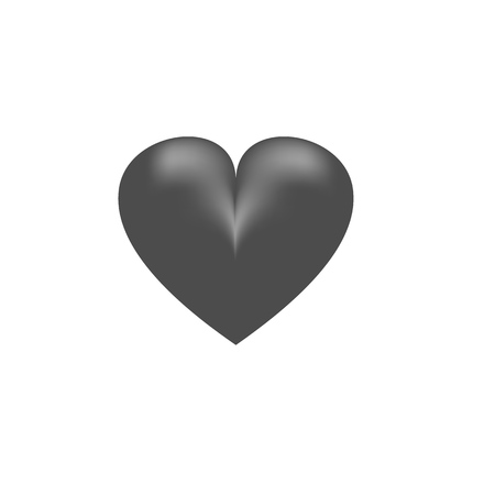 Heart black on white background 3D sign. Symbol linked, join, love, passion and wedding. Monochrome template for t shirt, apparel, card, poster, valentine day. Design element. Vector illustration Illusztráció