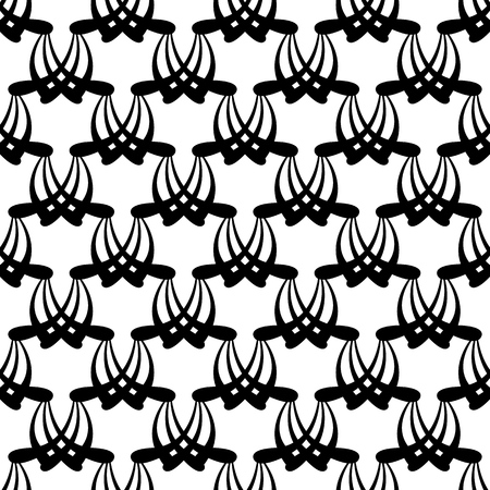 Abstract arabic seamless pattern. Fashion graphic on black background design. Modern stylish abstract texture. Monochrome template for prints, textiles, wrapping, wallpaper, etc. Vector illustration Illustration