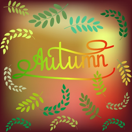 Card with quote autumn. Girl fashion stylish print for banner. Cute template for, apparel, card, poster, etc. Symbol autumnal time. Design element. Vector illustration