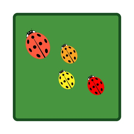 Ladybird in square. Illustration ladybug in green frame. Cute colorful sign color insect symbol spring, summer, garden. Template for t shirt, apparel, card, poster. Design element. Vector illustration Иллюстрация