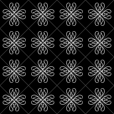 Abstract flower on square seamless pattern. Fashion graphic on white background design. Modern stylish abstract texture. Monochrome template for prints, textiles, wallpaper, etc. Vector illustration