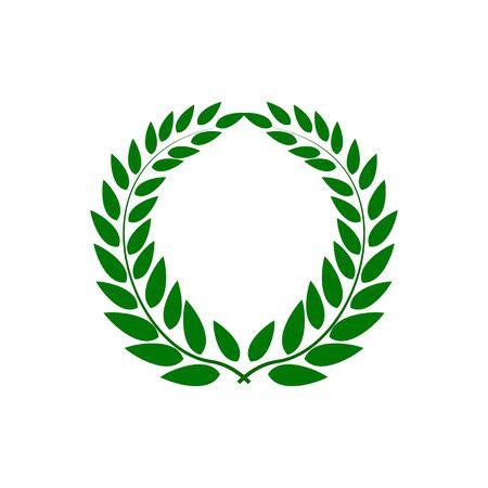 Laurel wreath reward. Modern symbol of victory and award achievement champion. Leaf ceremony awarding of winner tournament. Colorful template for badge, tag, etc. Design element. Vector illustration