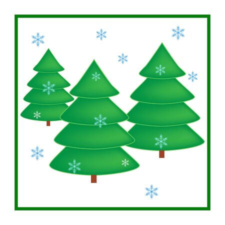 Silhouette design green spruce in white square. Christmas card. Symbol of winter, decoration for Christmas holiday season. Isolated graphic element. Flat vector image. Vector illustration Illusztráció
