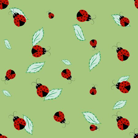 Ladybird on leaf color seamless pattern. Fashion graphic background design. Modern stylish abstract texture. Colorful template for prints, textiles, wrapping, wallpaper, website. Vector illustration Vectores