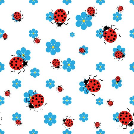 Ladybird on flower seamless pattern. Fashion graphic background design. Modern stylish abstract texture. Colorful template for prints, textiles, wrapping, wallpaper, website. Vector illustration