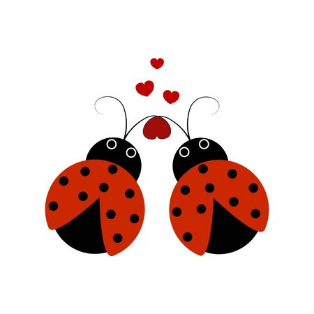 Ladybirds isolated. Illustration two ladybug and heart. Cute colorful sign red insect symbol spring, summer, garden. Template for t shirt, apparel, card, poster. Design element Vector illustration