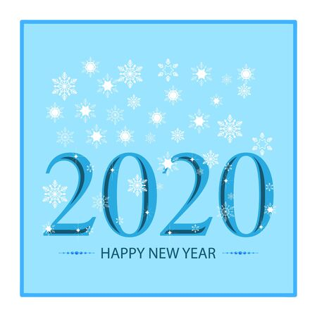 Happy Ney Year lettering and snowflake card. Colorful decoration illustration on blue background. Symbol merry christmassy and celebration winter. Isolated graphic element. Vector illustration