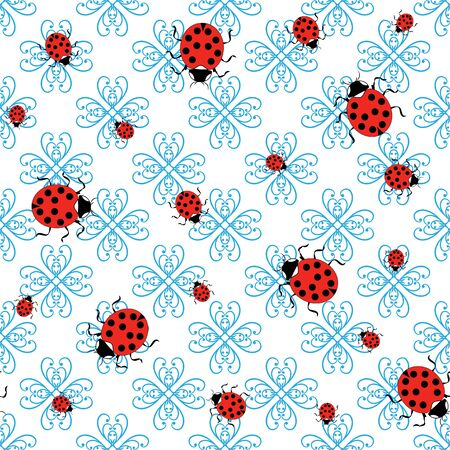 Ladybird on abstract seamless pattern. Fashion graphic background design. Modern stylish abstract texture. Colorful template for prints, textiles, wrapping, wallpaper, website. Vector illustration