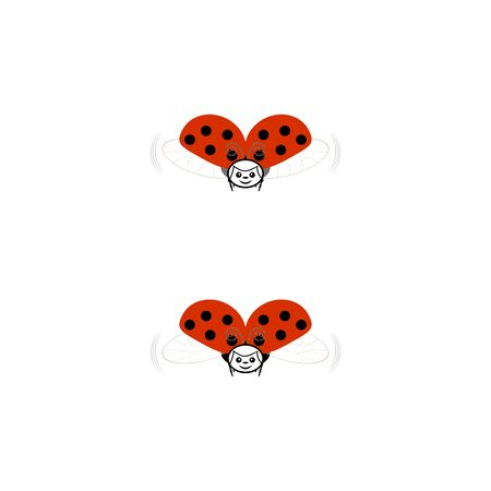 Ladybirds isolated. Illustration ladybugs fly. Cute colorful sign red insect symbol spring, summer, garden. Template for t shirt, apparel, card, poster, etc. Design element Vector illustration