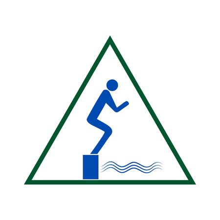Place for jumping in water. Sign in triangle. Safety dive. Sign safeness on beach, in river sea. Warning of protection during jump in. Colorful template for poster. Design element Vector illustration