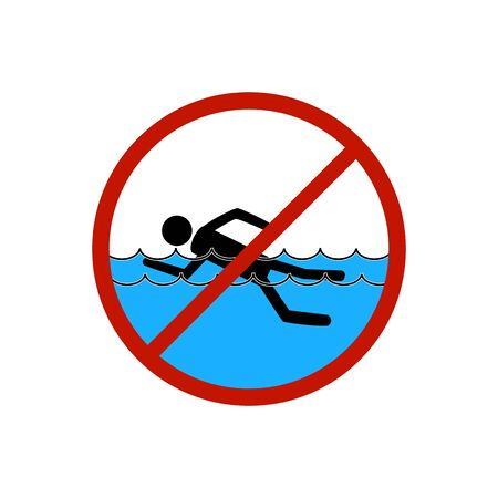 No swimming. Sign in red circle. Dangerous dive. Sign danger on beach, in river, sea, water. Warning of hazard during swim. Colorful template for poster, etc. Design flat element. Vector illustration.