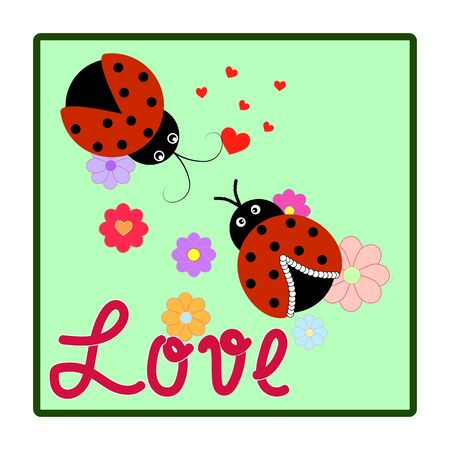 Ladybirds and lettering love in square. Illustration ladybug. Cute colorful sign red insect symbol spring, summer, garden. Template for t shirt, apparel, card. Design element Vector illustration