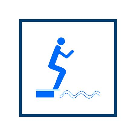 Place for jumping in water. Sign in square. Safety dive. Sign safeness on beach, in river, sea. Warning of protection during jump in. Colorful template for poster. Design element. Vector illustration.