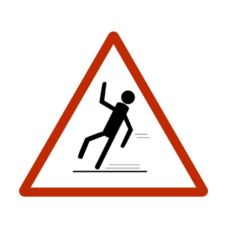 Slippery sidewalk. Sign danger on ice roadand wet sidewalk. Warning of danger during rain and sleet, risk fall and accident. Colorful template for card poster. Design flat element Vector illustration