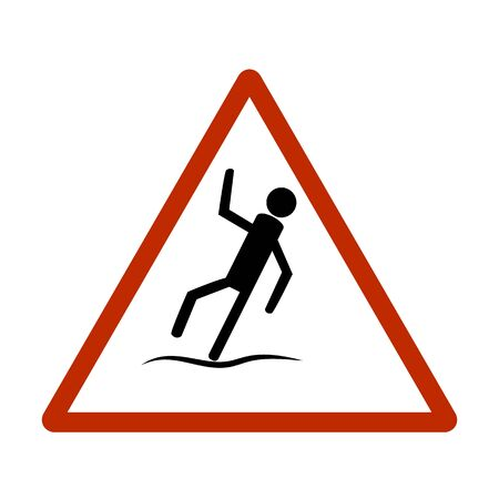 Slippery sidewalk. Sign danger on ice roadand wet sidewalk. Warning of danger during rain and sleet, risk fall and accident. Colorful template for card poster. Design flat element Vector illustration Stok Fotoğraf - 129682257