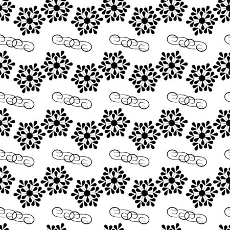 Snowflake seamless pattern. Fashion graphic background design. Modern stylish abstract texture. Monochrome template for prints, textiles, wrapping, wallpaper, website. Vector illustration Ilustrace
