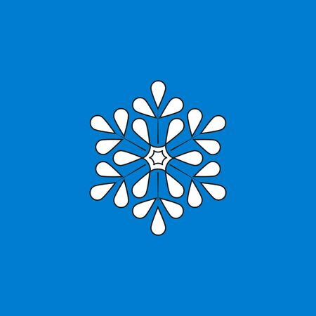 Snowflake sign. Silhouette design snowflake in blue background. Symbol of Christmas holiday season. Colorful template for prints, card, etc. Isolated graphic element. Flat vector illustration