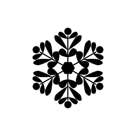 Snowflake sign. Silhouette design black snowflake on white background. Symbol of Christmas holiday season. Monochrome template for prints, card. Isolated graphic element. Flat vector illustration