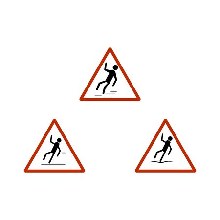 Slippery sidewalk set. Sign danger on ice road and wet sidewalk. Warning of danger during rain and sleet, risk fall and accident. Colorful template for card poster. Design element. Vector illustration.