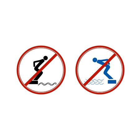 No jumping set. Dangerous dive. Sign danger on beach, in river, sea, aqua. Warning of danger during jump in . Colorful template for poster. Design flat element. Vector illustration Ilustrace