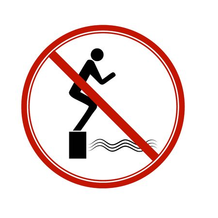 Dont jump into the water. Dangerous dive. Sign danger on beach, in river, sea, aqua. Warning of danger during jump in . Colorful template for poster. Design flat element. Vector illustration