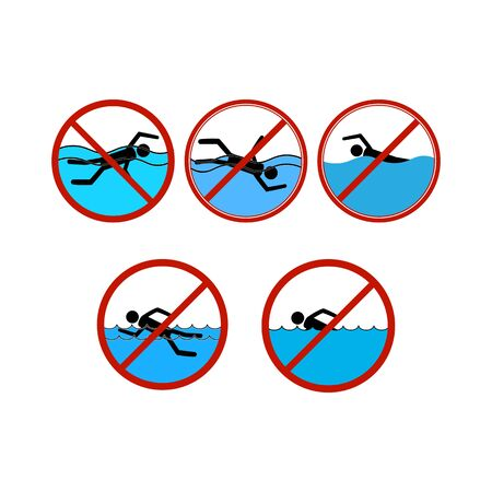 No swimming set sign. Dangerous dive. Sign danger on beach, in river, sea, water in red circle. Warning of hazard during swim. Colorful template for poster. Design flat element. Vector illustration.