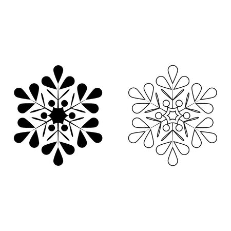 Set silhouette black and gray snowflakes on white background. Symbol of Christmas holiday season. Monochrome template for prints, card, etc. Isolated graphic element. Flat vector illustration.