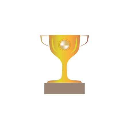 Cup reward isolated. Modern symbol of victory and award achievement sport. Insignia ceremony awarding of winner tournament. Colorful template for badge, tag. Design element. Vector illustration