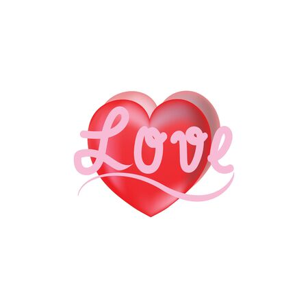Pink lettering Love on red heart. Fashion graphic background design. Modern stylish abstract texture.