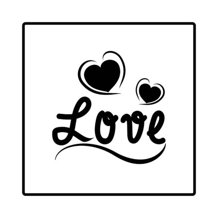 Lettering Love and two heart in white square. Fashion graphic background design. Modern stylish abstract texture. Monochrome template for t shirt, textiles, wrapping, poster card. Vector illustration Ilustrace