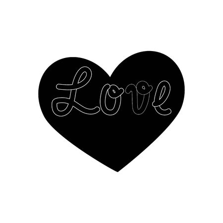 Lettering Love on black heart. Fashion graphic background design. Modern stylish abstract texture.