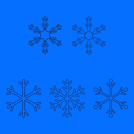 Snowflake set sign. Silhouette design snowflakes in blue background. Symbol of Christmas holiday season. Colorful template for prints, card, etc. Isolated graphic element. Flat vector illustration