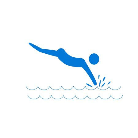 Place for jumping in water. Safety dive. Sign safeness on beach, in river, sea. Warning of protection during jump in. Colorful template for poster. Design flat element. Vector illustration. Ilustrace
