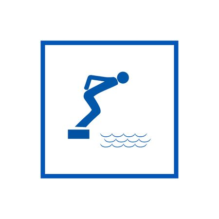 Place for jumping in water. Safety dive. Sign safeness on beach, in river, sea in square. Warning of protection during jump in. Colorful template for poster. Design flat element. Vector illustration. Çizim