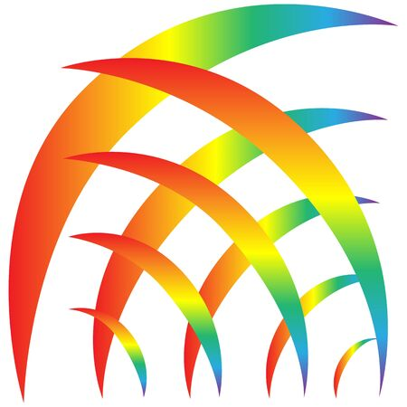 Rainbow sign. Decorative colorful spectrum arcs. Cute colorful symbol spring, summer, rain. Color bow mark clean nature. Template for t shirt, card, poster, etc. Design element. Vector illustration