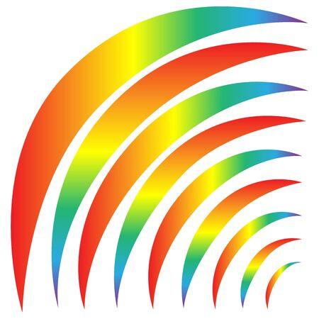 Rainbows sign. Decorative colorful spectrum arcs. Cute colorful symbol spring, summer, rain. Color bow mark clean nature. Template for t shirt, card, poster, etc. Design element. Vector illustration Ilustrace