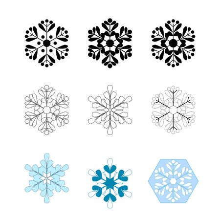 Set silhouette black and blue snowflakes on white background. Symbol of Christmas holiday season. Colorful template for prints, card, etc. Isolated graphic element. Flat vector illustration.