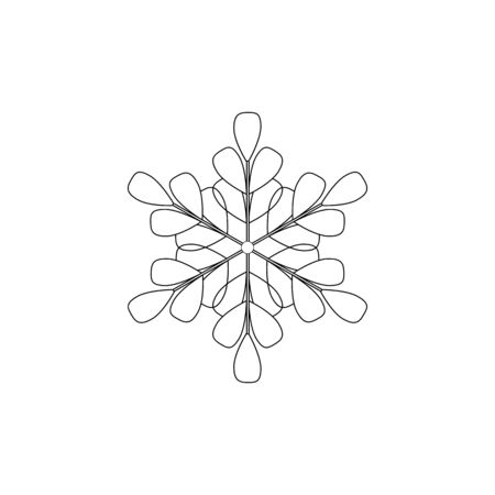 Snowflake sign. Silhouette design gray snowflake on white background. Symbol of Christmas holiday season. Monochrome template for prints, card. Isolated graphic element. Flat vector illustration