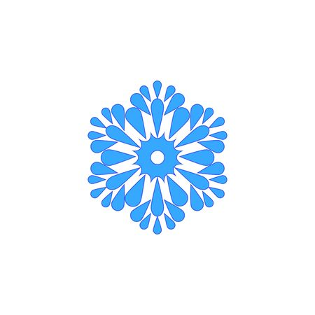 Snowflake blue sign. Silhouette design blue snowflake on white background. Symbol of Christmas holiday season. Colorful template for prints, card. Isolated graphic element. Flat vector illustration