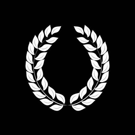 Laurel wreath reward. Modern symbol of victory and award achievement champion. Leaf ceremony awarding of winner tournament. Monochrome template for badge. Design flat element. Vector illustration Banque d'images - 131199041