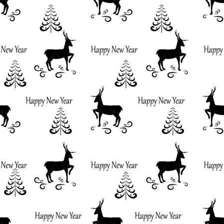 Deer and christmas tree seamless pattern. Fashion graphic background design. Modern stylish abstract texture. Monochrome template for prints, textiles, wrapping, wallpaper, etc. Vector illustration Ilustrace