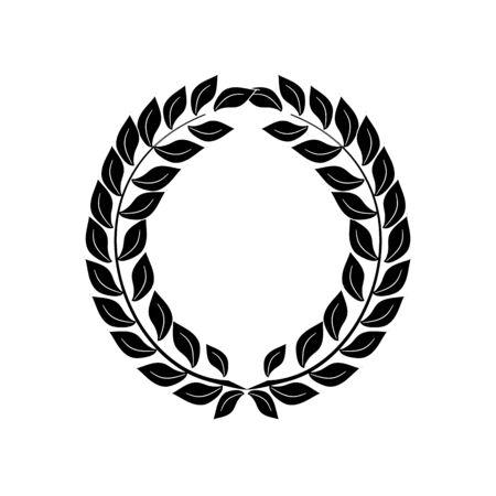 Black laurel wreath reward. Modern symbol of victory and award achievement champion. Leaf ceremony awarding of winner tournament. Monochrome template for badge. Design element. Vector illustration