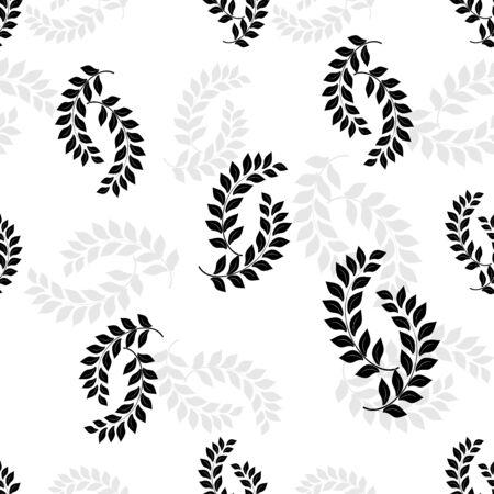 Leaf black seamless pattern. Fashion graphic background design. Modern stylish abstract texture. Design monochrome template for prints, textiles, wrapping, wallpaper, website. Vector illustration Ilustrace