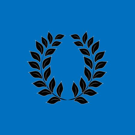 Laurel wreath in blue background. Modern sign of victory and award achievement champion. Symbol ceremony awarding of winner tourney. Monochrome template for badge. Design element. Vector illustration Banque d'images - 131199084